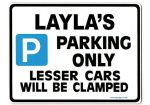LAYLA'S Personalised Parking Sign Gift | Unique Car Present for Her |  Size Large - Metal faced